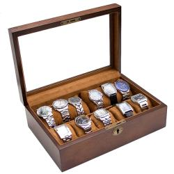 Vintage Brown Finish Wood Glass Top Watch Case w/ High Clearance Holds 10+ watches