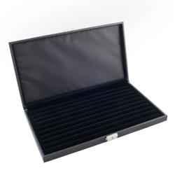 Lockable Black Leatherette Jewelry Ring Display Storage Case