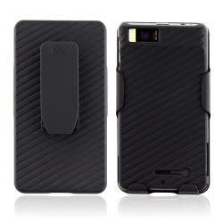 Black Snap-on Case/ Holster Combo for Motorola Droid X2