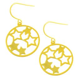 Fremada 14k Yellow Gold Circle of Stars Dangle Earrings
