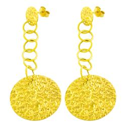 Fremada 14k Yellow Gold Hammered Disc Dangle Earrings
