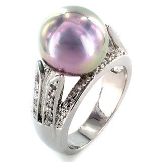 Silvertone Imitation Pearl and Cubic Zirconia Polished Ring