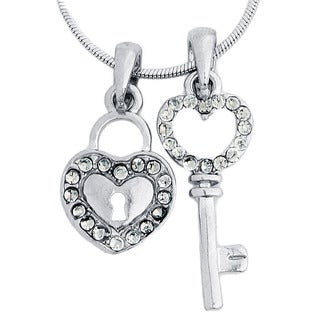 Silvertone Crystal Heart Lock and Key Polished Necklace Set
