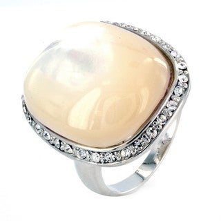 West Coast Jewelry Silvertone Faux Mother of Pearl and CZ Ring