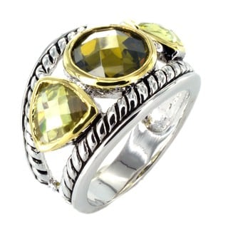 West Coast Jewelry Silvertone with Green and Olive Crystal Antiqued Ring