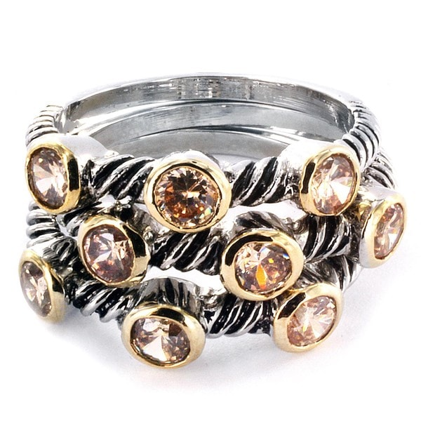 West Coast Jewelry Silvertone Champagne Stackable Cubic Zirconia Polished Rings (Set of 3)