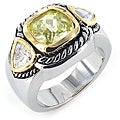 West Coast Jewelry Silvertone Green Cubic Zirconia Polished 3-stone Ring