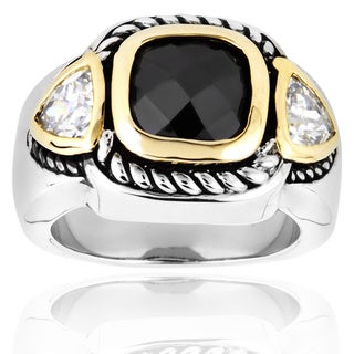 Silvertone Black and Clear Cubic Zirconia 3-stone Polished Ring