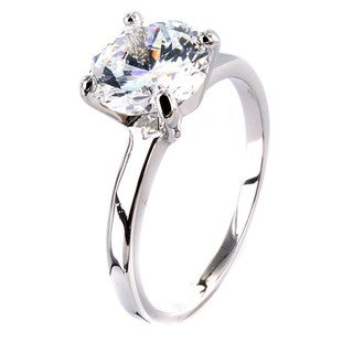 West Coast Jewelry Silvertone Large Cubic Zirconia Polished Engagement-style Ring