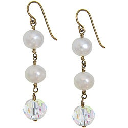 Misha Curtis Goldfill 14k Cultured Pearl and Crystal Drop Earr