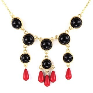 West Coast Jewelry Goldtone Black and Red Faux Stone Bead Drop Bib Necklace