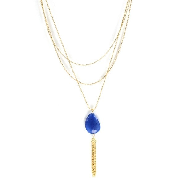 Goldtone Faceted Blue Faux Stone Chain Tassel Necklace