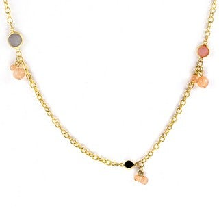 West Coast Jewelry Goldtone Topaz Ball Cluster Necklace