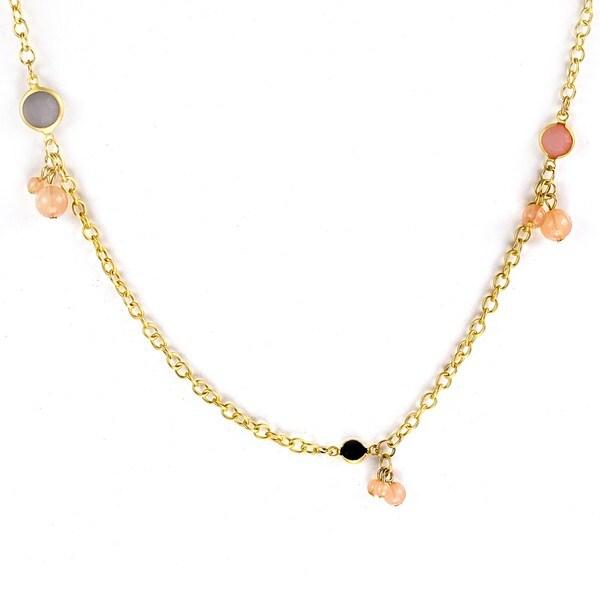 West Coast Jewelry Goldtone Topaz Ball Cluster Necklace