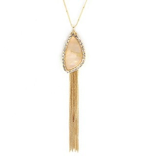 West Coast Jewelry Goldtone Faux Mother of Pearl Tassle Necklace