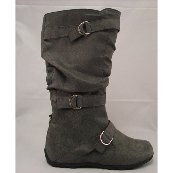 Carrini Women's Three Buckle Faux Suede Boots