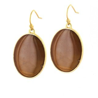 West Coast Jewelry ELYA Goldtone Oval Caramel Brown Faux Stone Drop Earrings