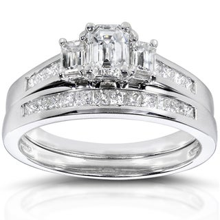 Annello 14k Gold 1 2/5 ct TDW Certified Emerald Cut 2-Piece Diamond Ring Set (F-G, VS2-SI1)