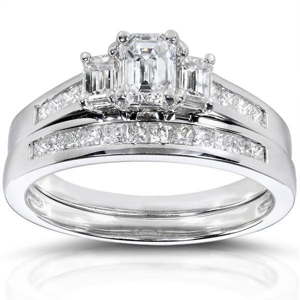 Annello 14k Gold 1 2/5 ct TDW Certified Emerald Cut 2-Piece Diamond Ring Set (F-G, VS2-SI1)