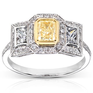 Annello 14k Gold 1 1/3 ct TDW Certified Yellow and White Diamond Engagement Ring