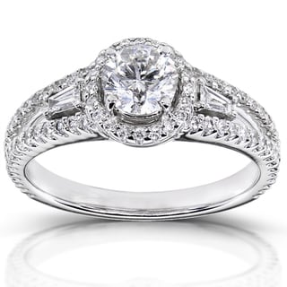 Annello 14k White Gold 1 1/5 ct TDW Certified Diamond Engagement Ring (F, SI2)