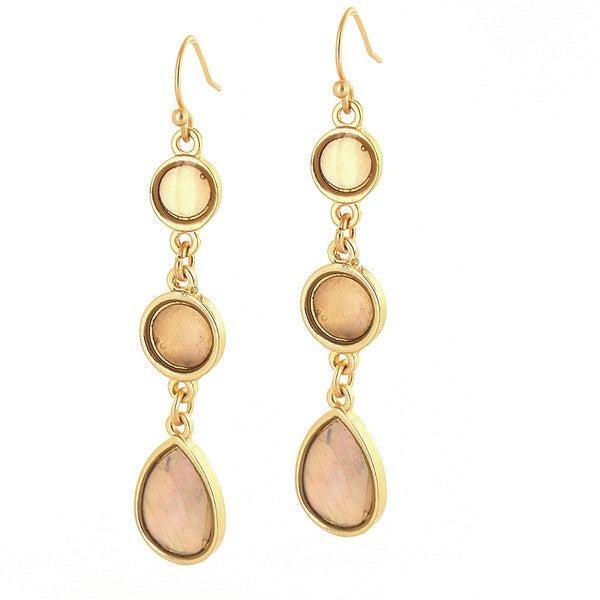 West Coast Jewelry ELYA Designs Goldtone Pink Faux 3-stone Dangle Earrings