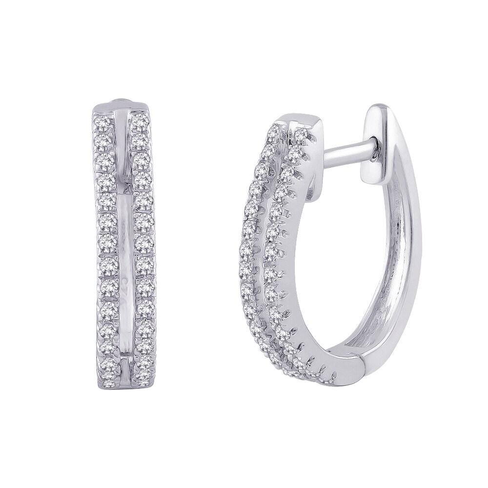 10k White Gold 1/5ct TDW Diamond Round-cut Hoop Earrings (G-H, I2-I3)