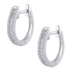 10k White Gold 1/5ct TDW Diamond Round-cut Hoop Earrings (G-H, I2-I3)