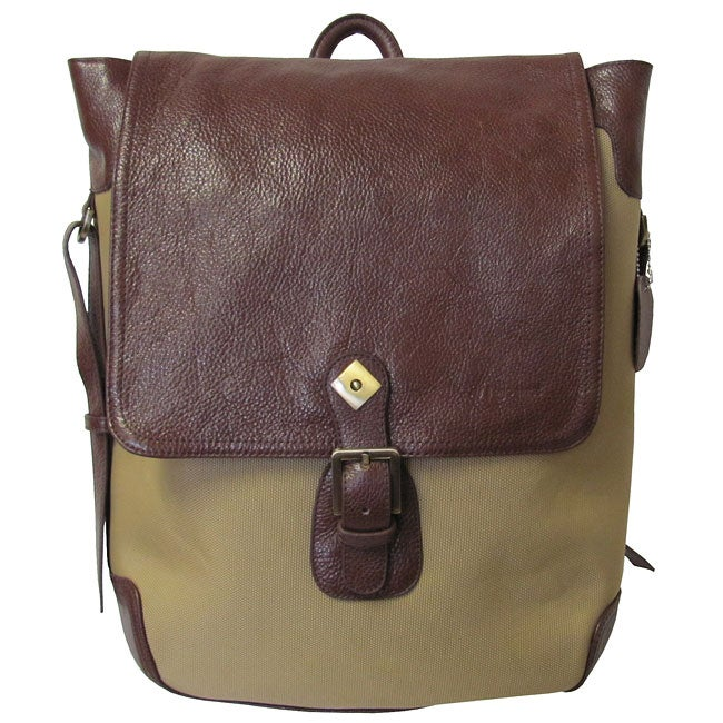 Amerileather Brown Buckled Flapover Two-tone Backpack