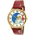Trax Santa Claus Christmas Watch with Red Leather Strap and White Dial