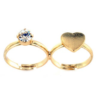Goldtone Two Finger Crystal and Solid Heart Adjustable Ring