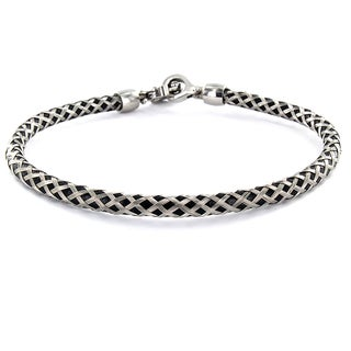 Stainless Steel Wire and Black Rubber Bracelet