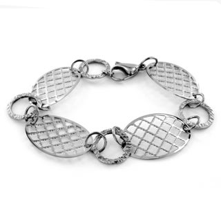 Stainless Steel Patterned Cut-out Discs Bracelet with Lobster Clasp