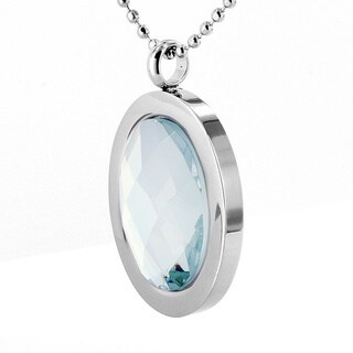Stainless Steel Large Polished Oval Faceted Crystal Necklace