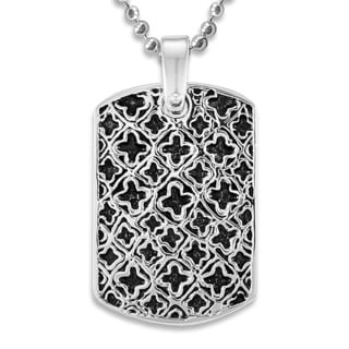 Stainless Steel Antiqued Medieval Pattern Dog Tag Necklace
