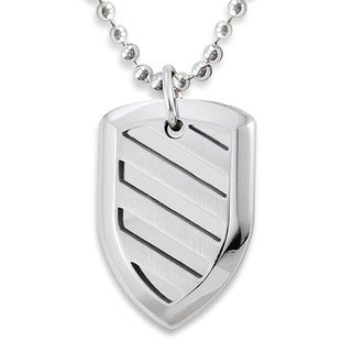 Stainless Steel Polished Shield Cut-out Design Necklace