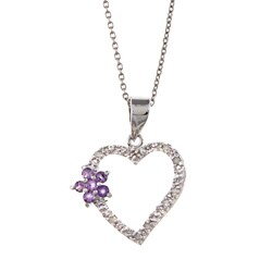 Sterling Silver Amethyst and 1/10ct TDW Diamond Heart Necklace (J-K, I3)
