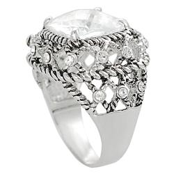 Silvertone Round and Cushion-cut Cubic Zirconia Rope-style Dome Ring