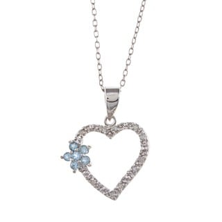 Sterling Silver Blue Topaz and 1/10ct TDW Diamond Necklace (J-K, I3)