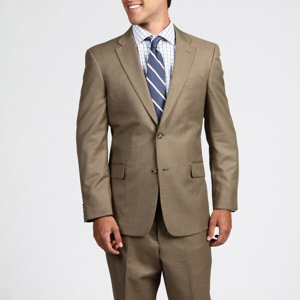 Tommy Hilfiger Men's Trim Fit Tan Sharkskin 2-button Suit