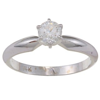 14k White Gold 1/2ct TDW Diamond Solitaire Engagement Ring (E-F, I1-I2)