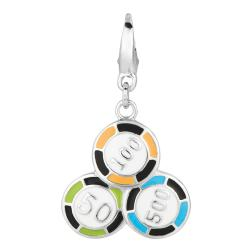 Sterling Silver Poker Chips Charm