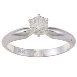 Victoria Kay 14k White Gold 1/2ct TDW Diamond Solitaire Engagement Ring (H-I, I1-I2)