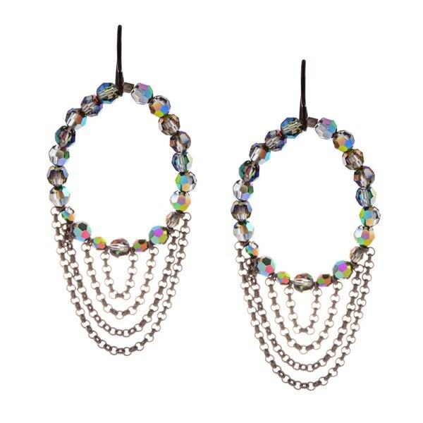 MSDjCASANOVA Gunmetal Crystal Sparkle Earrings