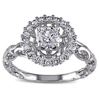 Miadora 18k White Gold 3/4ct TDW Diamond Crown Halo Ring (H-I, I1-I2)