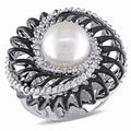 Miadora 18k White Gold South Sea Pearl and 5/8ct TDW Diamond Ring (G-H, SI1-SI2)