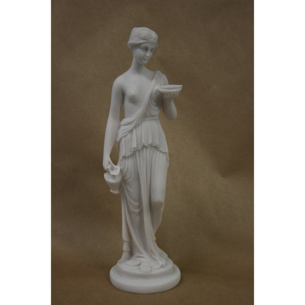 White Bonded Marble Statue of Greek Goddess Hebe, The Cup Bearer 8585562