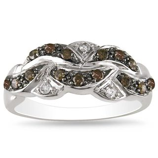Miadora 14k White Gold 1/3ct TDW Brown and White Diamond Ring (H-J, I1-I2)