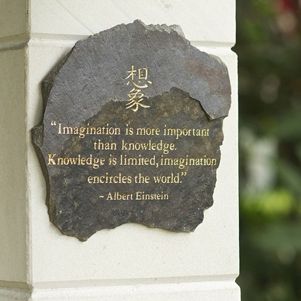 Volcanic Slate 'Imagination is More Important' Engraved Stone (Indonesia)