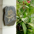 Volcanic Slate Lotus Symbol Engraved Stone (Indonesia)
